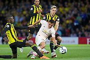 Manchester United Forward Alexis Sanchez tackled by Watford midfielder Abdoulaye Doucoure (16) during the Premier League match between Watford and Manchester United at Vicarage Road, Watford, England on 15 September 2018.