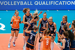 02-08-2019 ITA: FIVB Tokyo Volleyball Qualification 2019 / Belgium - Netherlands, Catania<br /> 1e match pool F in hall Pala Catania between Belgium - Netherlands. Netherlands win 3-0 / Team Netherlands Laura Dijkema #14 of Netherlands, Maret Balkestein-Grothues #6 of Netherlands, Kirsten Knip #1 of Netherlands, Nicole Koolhaas #22 of Netherlands, Marrit Jasper #18 of Netherlands