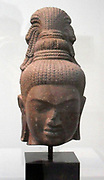Head of the bodhisattva Maitreya. 8th century, Pre-Angkorian period (1st-7th century A.D) sandstone sculpturefrom Cambodia
