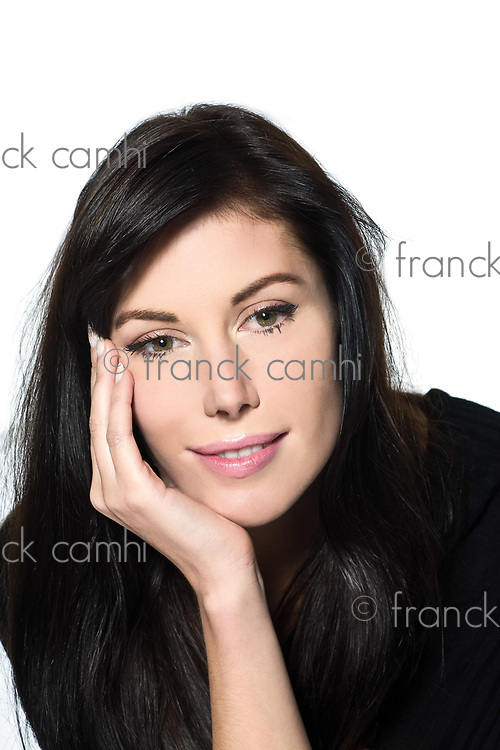 woman beautiful portrait on studio isolated white background smiling green eyes brown hair