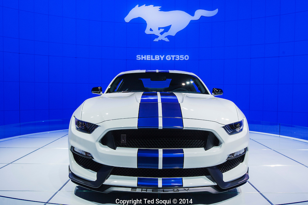 The 2014 Los Angeles Auto Show at the Los Angeles Convention Center.<br /> A Ford Shelby GT350. This car has a 350ci engine that produces 500hp. No price yet.