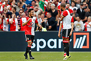 Feyenoord-player Yassin Ayoub (L) celebrating the goal 2-0 scored bij Jeremiah St Juste (R) during the Dutch football Eredivisie match between Feyenoord and Excelsior at De Kuip Stadium in Rotterdam, on August 19th, 2018 - Photo Stanley Gontha / Pro Shots / ProSportsImages / DPPI