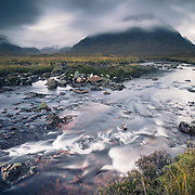 The river Etive flowing across the foot of Buachaille Etive Mor, Rannoch moor.