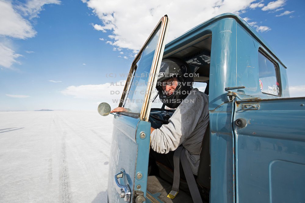 Image of a blue Volkswagen vintage truck at the World of Speed, Bonneville Salt Flats, Utah, American Southwest