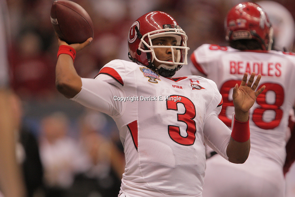 2 January 2009: Utah quarterback Brian Johnson (3) throws a pass during a 31-17 win by the Utah Utes over the Alabama Crimson Tide in the 75th annual Allstate Sugar Bowl at the Louisiana Superdome in New Orleans, LA.