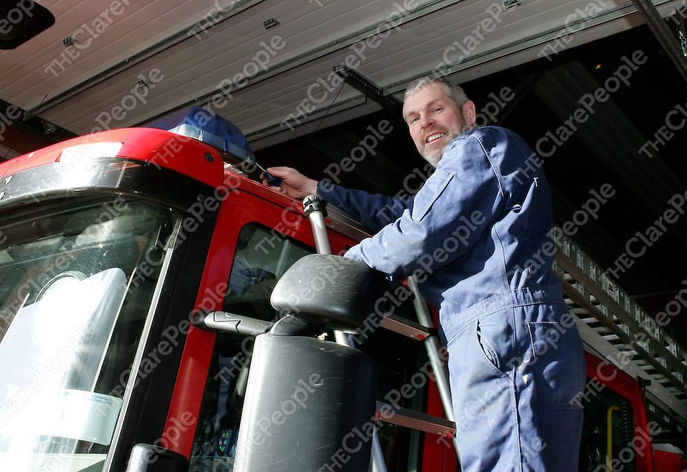 Al Meaney from Ennis working on the fire engines in Shannon this week.<br />
