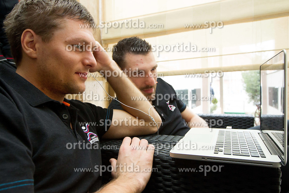 Marko Bezjak and Primoz Prost of Slovenia Men Handball team during 3rd day of 10th EHF European Handball Championship Serbia 2012, on January 17, 2012 in Hotel Srbija, Vrsac, Serbia.  (Photo By Vid Ponikvar / Sportida.com)