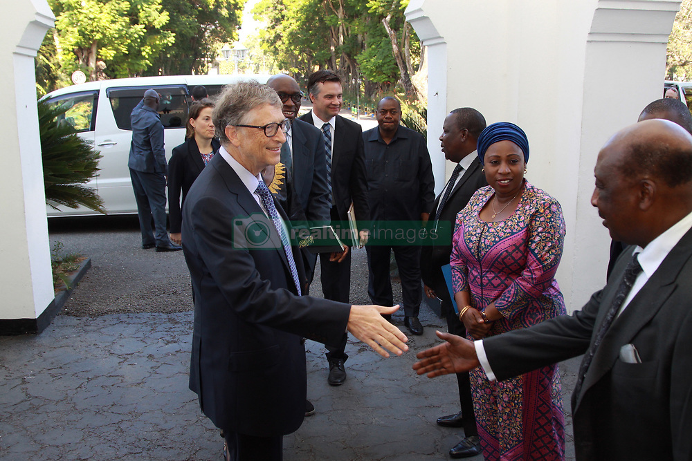 August 10, 2017 - Dar Es Salaam, Dar es Salaam, Tanzania - Bill Gates, American business magnate and philanthropist, is greeted by officials at the Presidental State House. Gates applauds president John Magufuli's commitment to poverty reduction in Tanzania and pledges his foundation's continued support.  Tanzania is one of 45 African countries in which the Bill and Melinda Gates Foundation plans to invest  billion by 2021. (Credit Image: © Ric Francis via ZUMA Wire)