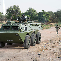 Elements of the Multinational Force Joint patrolling along the Douji bridge, crossing the border between Niger and Nigeria.
