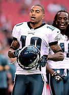 Sept. 23, 2012; Glendale, AZ, USA; Philadelphia Eagles wide receiver DeSean Jackson (10) reacts on the field at University of Phoenix Stadium. The Cardinals defeated the Eagles 27 - 6. Mandatory Credit: Jennifer Stewart-US PRESSWIRE.