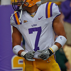 October 8, 2011; Baton Rouge, LA, USA; LSU Tigers cornerback Tyrann Mathieu (7) prior to kickoff of a game against the Florida Gators at Tiger Stadium.  Mandatory Credit: Derick E. Hingle-US PRESSWIRE / © Derick E. Hingle 2011