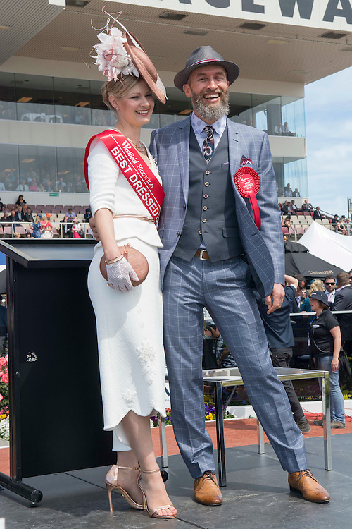 Winner in the Best Dressed Woman, Maria Wright with Best Dressed Man  Peter Grooby at the New Zealand Trotting Cup Day, Addington Raceway, Christchurch, New Zealand, Tuesday, 10 November, 2015.<br /> Credit:SNPA / David Alexander