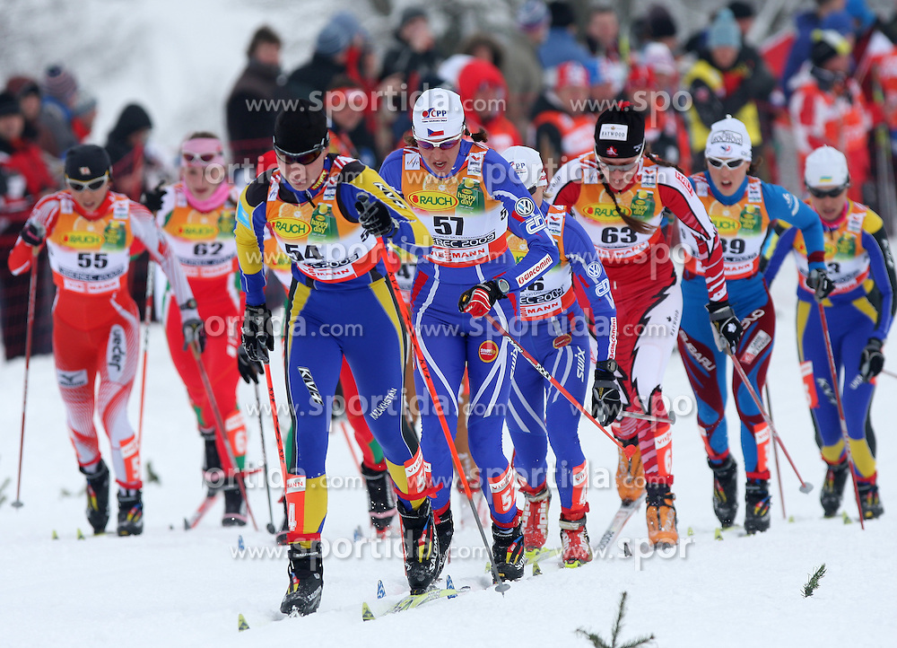 Skiers at Ladies` Pursuit 7,5 km Classic + 7,5 km Free at FIS Nordic World Ski Championships Liberec 2008, on February 21, 2009, in Vestec, Liberec, Czech Republic. (Photo by Vid Ponikvar / Sportida)
