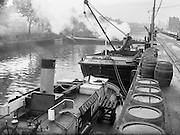 """20/08/1958<br /> 08/20/1958<br /> 20 August 1958<br /> Transport at Guinness Brewery, St James's Gate, Dublin. Guinness Barges, including """"Clonsilla"""",  at Victoria Quay."""