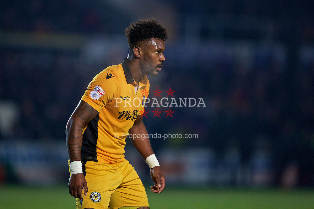NEWPORT, WALES - Wednesday, December 21, 2016: Newport County's Jennison Myrie-Williams in action against Plymouth Argyle during the FA Cup 2nd Round Replay match at Rodney Parade. (Pic by David Rawcliffe/Propaganda)