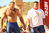 Travis Ortmayer (USA) on the left and Mikhail Koklyaev (Russia) before their head-to head in the Atlas Stones event during the final rounds of the World's Strongest Man competition held in Sun City, South Africa.