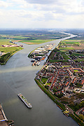 Nederland, Zeeland, Zeeuws-Vlaanderen, 09-05-2013; cruiseschip op Kanaal Gent-Terneuzen, ter hoogte van Sluiskil. Gezien naar Sas van Gent.<br /> Cruise ship on the Gent-Terneuzen canal in the south of the province Zeeland.  <br /> luchtfoto (toeslag op standard tarieven)<br /> aerial photo (additional fee required)<br /> copyright foto/photo Siebe Swart