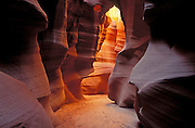Delicate slickrock formations in upper Antelope Canyon, Navajo Indian Reservation, Arizona