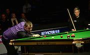 20.02.2016. Cardiff Arena, Cardiff, Wales. Bet Victor Welsh Open Snooker semi-finals. Mark Allen versus Neil Robertson. Mark Allen pots the black.