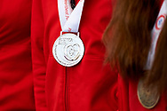 Warsaw, Poland - 2017 March 31: Special Olympics athletes while Meeting with the First Lady Agata Kornhauser-Duda at Polish President's Palace on March 31, 2017 in Warsaw, Poland.<br /> <br /> Mandatory credit:<br /> Photo by © Adam Nurkiewicz / Mediasport<br /> <br /> Adam Nurkiewicz declares that he has no rights to the image of people at the photographs of his authorship.<br /> <br /> Picture also available in RAW (NEF) or TIFF format on special request.<br /> <br /> Any editorial, commercial or promotional use requires written permission from the author of image.<br /> <br /> Image can be used in the press when the method of use and the signature does not hurt people on the picture.