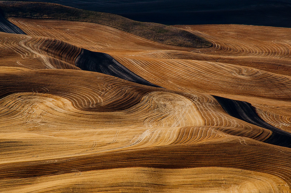 Patterns in the farmland of the Palouse region of Washington after harvest.