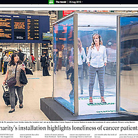 INVOICE ALL USE<br /> <br /> Carol Smillie in an isolation box at Glasgow's Central Station for MacMillan Cancer Support.<br /> <br /> All images &copy;Warren Media 2015<br /> Lenny Warren / Warren Media<br /> 07860 830050  01355 229700<br /> lenny@warrenmedia.co.uk<br /> www.warrenmedia.co.uk