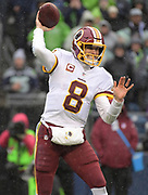 Nov 5, 2017; Seattle, WA, USA; Washington Redskins quarterback Kirk Cousins (8) throws a pass against the Seattle Seahawks during an NFL football game at CenturyLink Field.