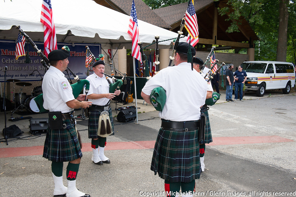 19 Sep 2015 Staten Island, New York US //The FDNY Emerald Society Bagpipers performing at the 8th annual Lt. John Martinson Memorial Picnic at the Hillside Swim Club //  Michael Glenn  /   for the FDNY