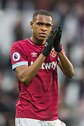 Issa Diop (West Ham) thanking the West Ham FC supporters at the end of the Premier League match between West Ham United and Huddersfield Town at the London Stadium, London, England on 16 March 2019.