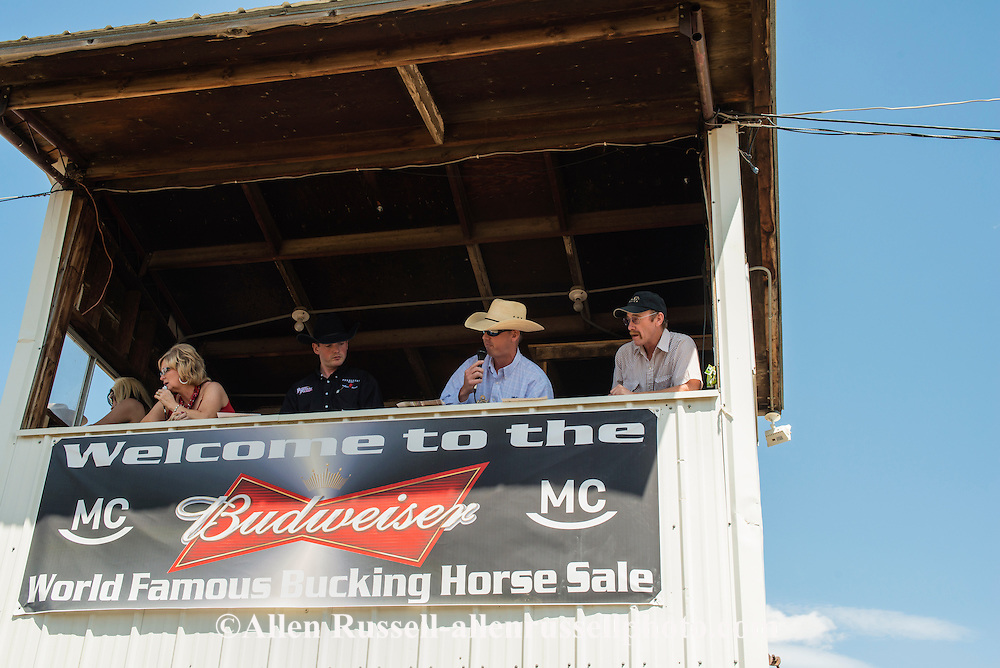 Announcer, Paul Pauly has been announcing the Bucking Horse Sale for 14 years, his grandfather Bob Pauley and great-grandfather Les Boe started the sale in 1951 at Miles City Montana.
