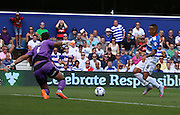 Tjaronn Chery (QPR midfielder) clean through and almost getting a penalty during the Sky Bet Championship match between Queens Park Rangers and Rotherham United at the Loftus Road Stadium, London, England on 22 August 2015. Photo by Matthew Redman.