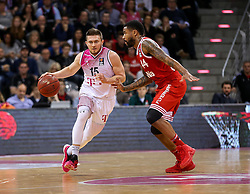28.03.2016, Telekom Dome, Bonn, GER, Beko Basketball BL, Telekom Baskets Bonn vs FC Bayern Muenchen, 23. Runde, im Bild vl. Rotnei Clarke (Bonn, #15), Bryce Tylor (Muenchen, #44) // during the Beko Basketball Bundes league 23th round match between Telekom Baskets Bonn and FC Bayern Munich at the Telekom Dome in Bonn, Germany on 2016/03/28. EXPA Pictures © 2016, PhotoCredit: EXPA/ Eibner-Pressefoto/ Horn<br /> <br /> *****ATTENTION - OUT of GER*****