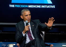 February 25, 2016 - Washington, DC, United States of America - U.S. President Barack Obama speaks during a panel discussion for the White House Precision Medicine Initiative Summit February 25, 2016 in Washington, DC..The panel focused on improving health care for veterans and patients nationwide. (Credit Image: © Robert Turtil/Planet Pix via ZUMA Wire)