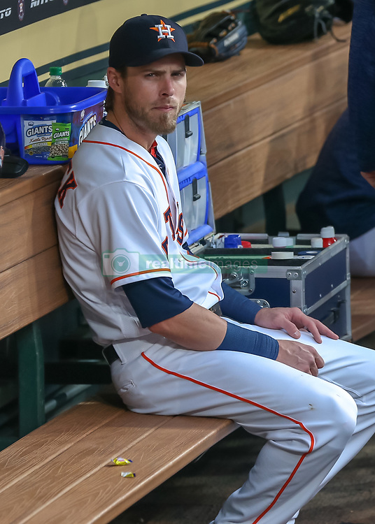 April 30, 2018 - Houston, TX, U.S. - HOUSTON, TX - APRIL 30:  Houston Astros left fielder Josh Reddick (22) waits in the dugout during the baseball game between the New York Yankees and Houston Astros on April 30, 2018 at Minute Maid Park in Houston, Texas.  (Photo by Leslie Plaza Johnson/Icon Sportswire) (Credit Image: © Leslie Plaza Johnson/Icon SMI via ZUMA Press)