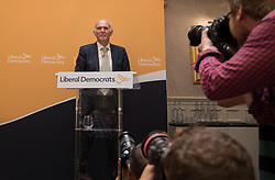 © Licensed to London News Pictures. 20/07/2017. London, UK. Sir Vince Cable speaks after being announced as the new Liberal Democrat party leader. Tim Farron stepped down after the general election.  Photo credit: Peter Macdiarmid/LNP