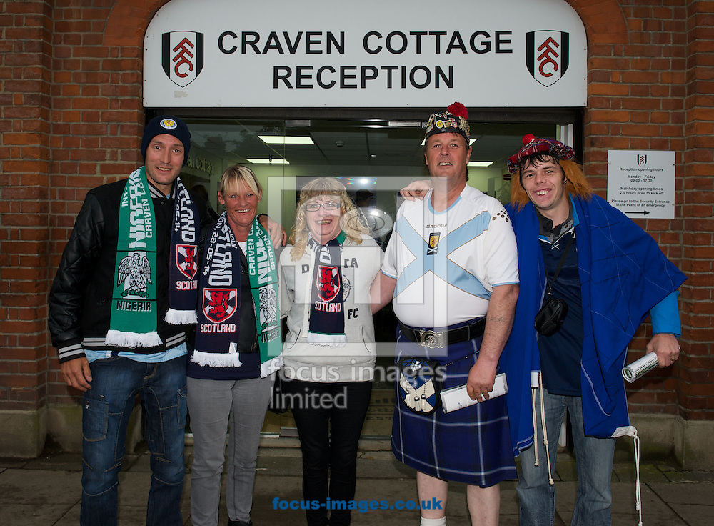 Fans  of Scotland outside Craven Cottage before the International Friendly match at Craven Cottage, London<br /> Picture by Alan Stanford/Focus Images Ltd +44 7915 056117<br /> 28/05/2014