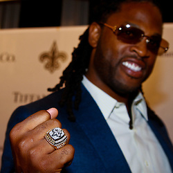 June 16, 2010; New Orleans, LA, USA; New Orleans Saints cornerback Mike McKenzie displays his championship ring outside the Roosevelt Hotel where the New Orleans Saints received their Super Bowl rings for their victory of the Indianapolis Colts in Super Bowl XLIV.  Mandatory Credit: Derick E. Hingle