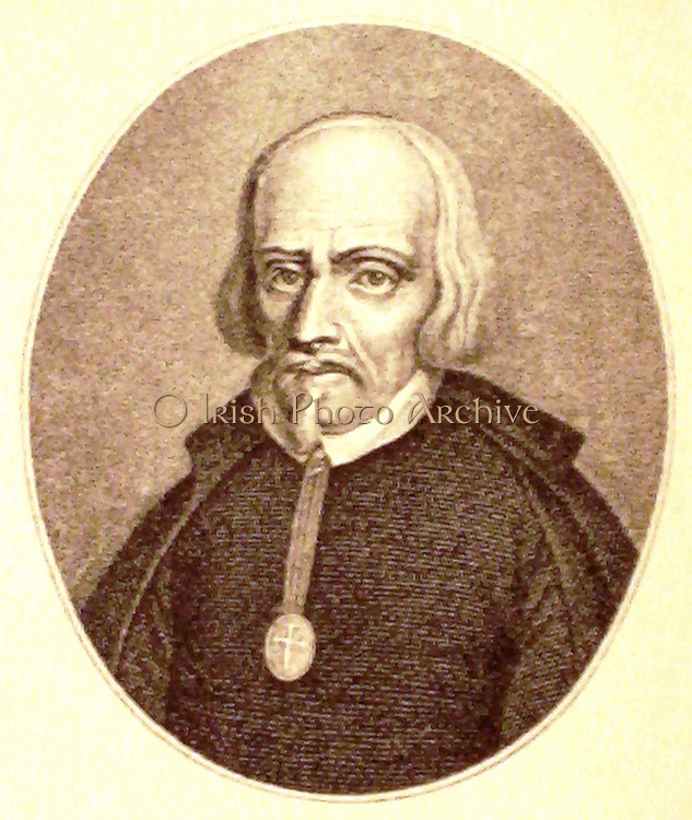 Portrait engraving of Pedro Calderon de la Barca y Henao (1600-1681) poet and dramatist of the Spanish Golden Age.   Literature Drama Theatre Playwright Spain