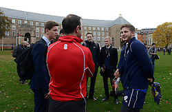 Auguy Slowik speaks to members of the public during the training session at College Green  - Photo mandatory by-line: Dougie Allward/JMP - Mobile: 07966 386802 - 06/11/2014 - SPORT - Rugby - Bristol - College Green - Bristol Rugby v  - Rugby on the green