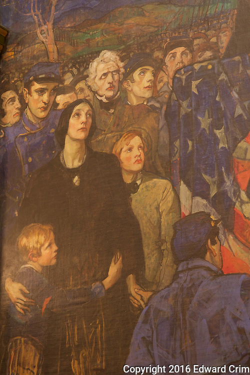 Detail of Violet Oakley's Lincoln at Gettysburg, 1863, on the north wall of the Pennsylvania capitol's Senate chamber in Harrisburg.