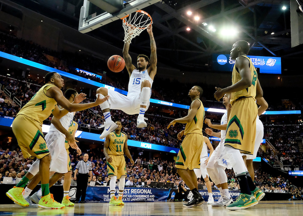 Mar 28, 2015; Cleveland, OH, USA; Kentucky Wildcats forward Willie Cauley-Stein (15) dunks against the Notre Dame Fighting Irish in the finals of the midwest regional of the 2015 NCAA Tournament at Quicken Loans Arena. Mandatory Credit: Rick Osentoski-USA TODAY Sports