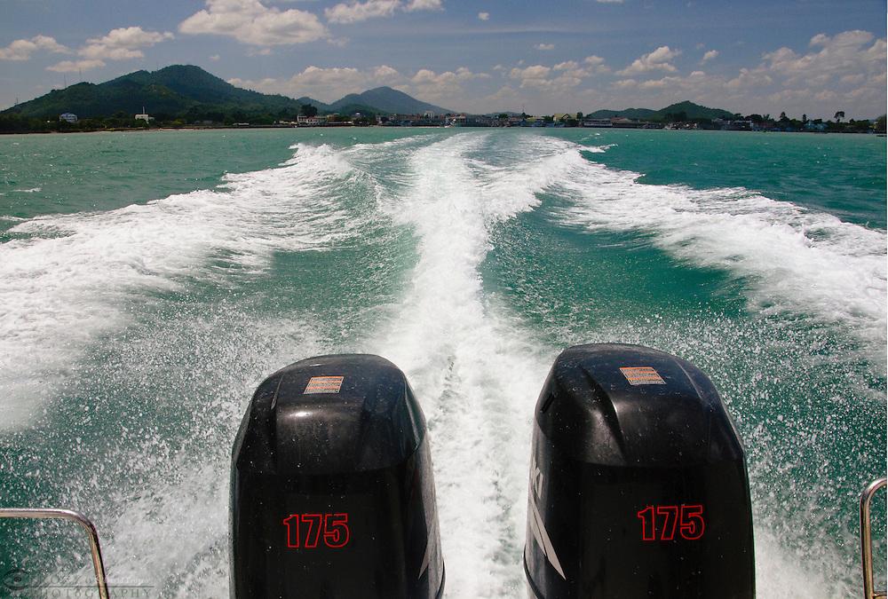Speedboat wake Gulf of Thailand