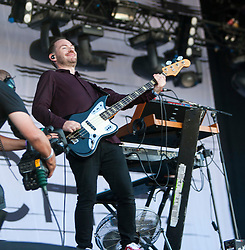 Iain Cook of Chvrches, play on the Radio 1 stage for their third gig at T in the Park 2014.<br /> © Michael Schofield.