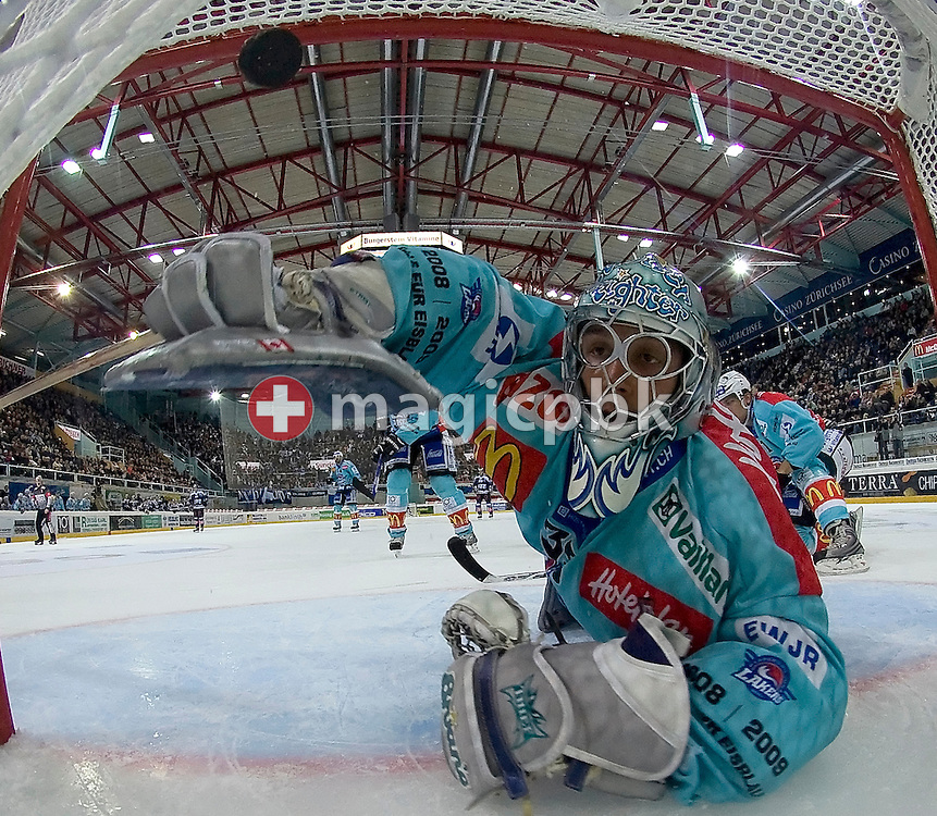Marco Streit of the Rapperswil-Jona Lakers gives up the fourth goal to the EV Zug during the Swiss NHL ice hockey game between Rapperswil-Jona Lakers and EV Zug held at the Diners Club Arena in Rapperswil, Switzerland, Saturday, October 4, 2008. (Photo by Patrick B. Kraemer / MAGICPBK)