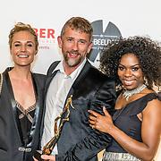 NLD/Amsterdam/20170328 - Uitreiking Tv Beelden 2017, De winnaar beste dramaserie Vechtershart, Kimberly Klaver, Waldemar Torenstra en Immanuel Grives