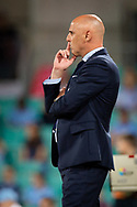SYDNEY, AUSTRALIA - APRIL 06: Melbourne Victory coach Kevin Muscat at round 24 of the Hyundai A-League Soccer between Sydney FC and Melbourne Victory on April 06, 2019, at The Sydney Cricket Ground in Sydney, Australia. (Photo by Speed Media/Icon Sportswire)