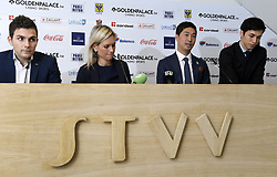 November 15, 2017 - Saint Trond, Belgique - SINT TRUIDEN, NOVEMBER 15 :  Yusuke Muranaka new owner of Sint Truiden football club  and CEO Philippe Bormans pictured during press conference about the future of STVV on november 15, 2017 in Sint - Truiden, Belgium (Credit Image: © Panoramic via ZUMA Press)