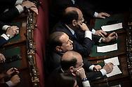 Roma 22.04.2013 - Camera dei Deputati. Il Parlamento è riunito in seduta comune per il giuramento del neo eletto Presidente della Repubblica Giorgio Napolitano. Nella Foto: Silvio Berlusconi tra i parlamentari di centro-destra. Foto Giovanni Marino