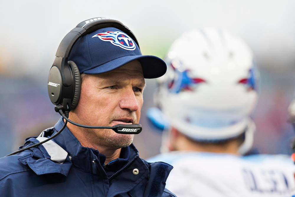 NASHVILLE, TN - DECEMBER 28:  Head Coach Ken Whisenhunt of the Tennessee Titans on the sidelines during a game against the Indianapolis Colts at LP Field on December 28, 2014 in Nashville, Tennessee.  The Colts defeated the Titans 27-10.  (Photo by Wesley Hitt/Getty Images) *** Local Caption *** Ken Whisenhunt