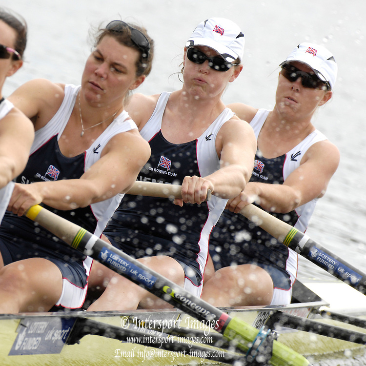 Poznan, POLAND,  GBR W8+, move away from the start in their morning heat, at the 2008 FISA World Cup. Rowing Regatta. Malta Rowing Course on Saturday, 21/06/2008. [Mandatory Credit:  Peter SPURRIER / Intersport Images] .Crew, right to left, Bow, Bet RODFORD, Carla ASHFORD, Natasha HOWARD, Rowing Course:Malta Rowing Course, Poznan, POLAND